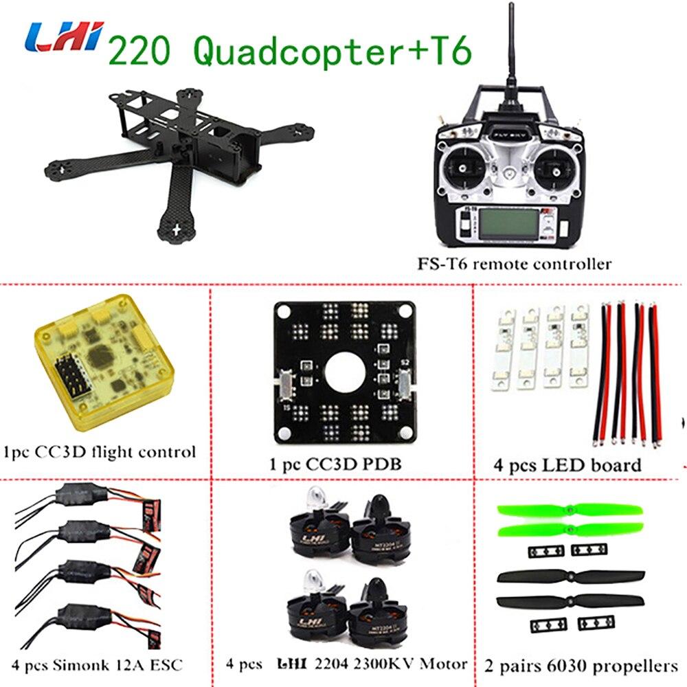LHI Cadre X220mm RC Quadcopter 2204 2300KV Moteur et 12A ESC avec FS-T6 de qav220 zmr dron CC3D Vol Contrôle 250 pour drone