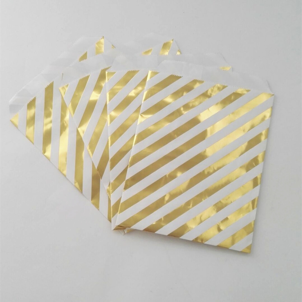 600pcs Paper Gold Chevron Striped And Polka Dot Treat Snacks Favor Bags For Wedding Birthday Metallic Golden Party Supplies In Event From Home