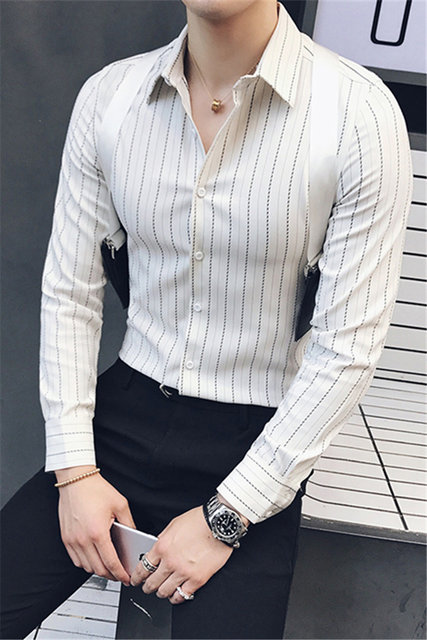 2017 Black Stripe Business Shirts Mens Social Dress With Strap White Office Casual Slim Fit Korean Clothes