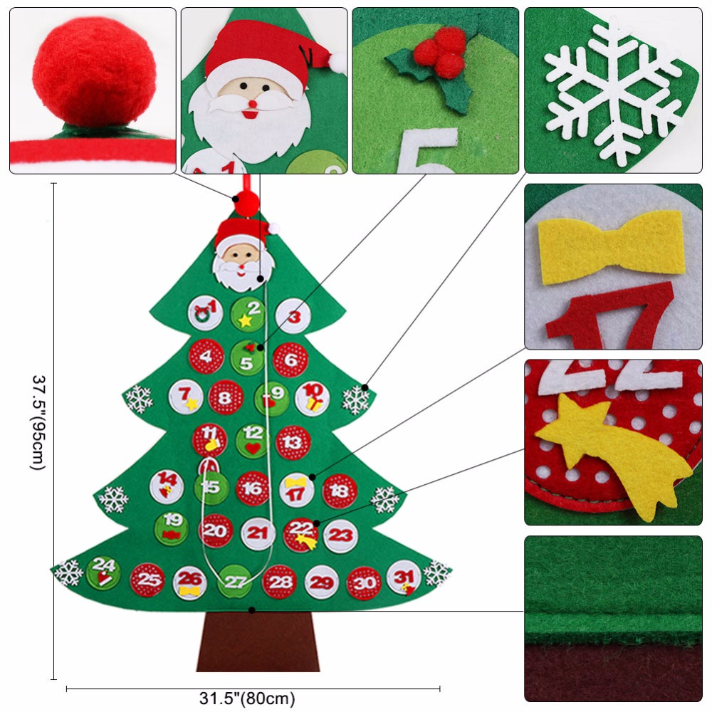 Ourwarm Felt New Year Advent Calendar Decoration Countdown Christmas Date 31 Tree Decorations In Calendars From