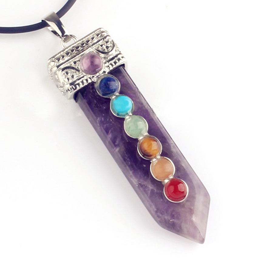 100 Unique 1 Pcs Silver Plated Natural Purple Amethysts Sword Shape Chakra Healing Pendant For New Year Jewelry in Pendants from Jewelry Accessories
