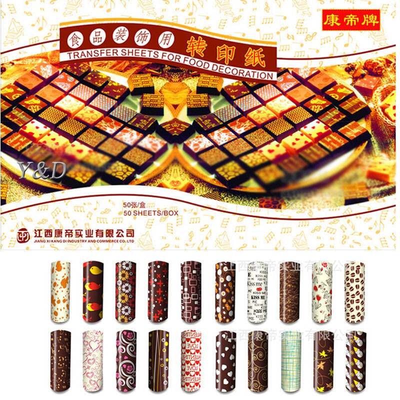 New (50pcs/set) DIY Handmade Different Colors Transfer Sheet Colorful Chocolate Painting Print Mat For Cake Decorating Tools