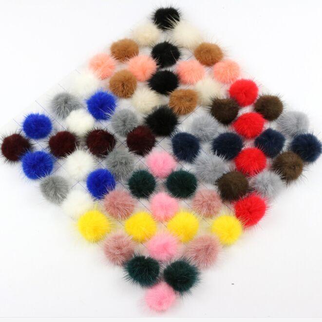 Multicolor DIY Handmade 3cm Real Mink Fur Pom Pom For Winter Hat Beanie Caps Fur Poms Ball For Clothing Bag Pendant Decoration