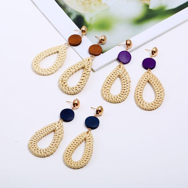 Wood Earrings For Women Round Water Drop Dangle Weaving Long Drop Earrings Fashion statement Jewelry oorbellen 2018 Summer Gift in Drop Earrings from Jewelry Accessories