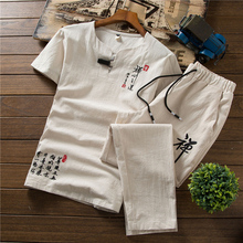 Loldeal Chinese Summer Linen Track Suit Suit Embroidery Casual Loose Men's Cotton Short-sleeved T-shirt + Pants