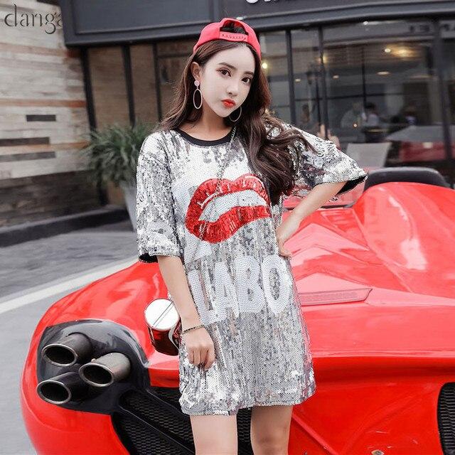 Fashion T Shirt with Sequins Hip Hop Bling T-shirt Orange Half SleeveT-shirt  Women Street T Shirt For Stage Dance Club Party 742dc9405cfa