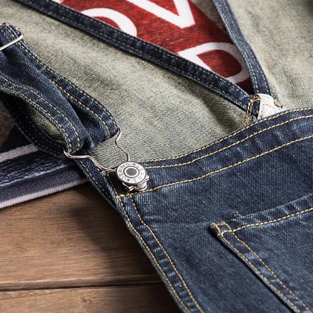 Sokotoo Men's dark blue denim bib overalls Slim fit jeans Casual pocket cargo pants Suspenders jumpsuits 3