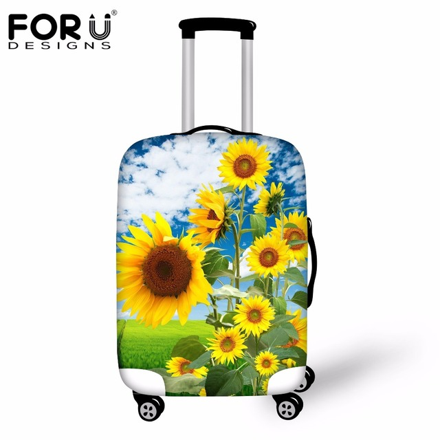 FORUDESIGNS New 3D Sunflower Tree Spandex Travel Luggage Cover For 18-30inch Suitcase Waterproof Rain Cover Luggage Accessories