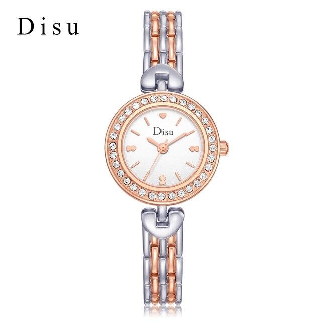 Mujeres pulsera Relojes DISU Top marca de lujo de oro rosa plata Vintage  cristal de cuarzo b8b9327561d2