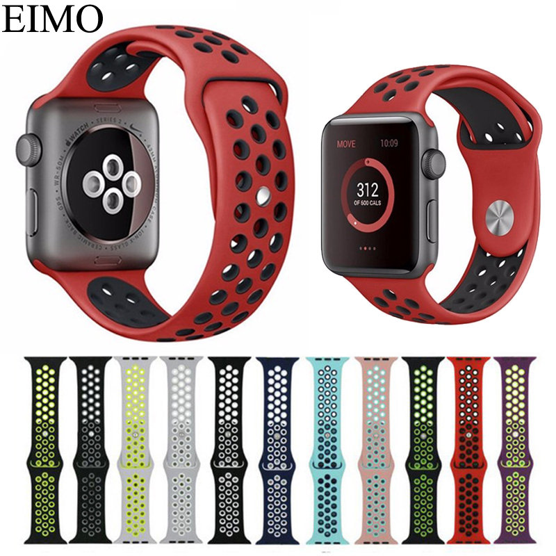 EIMO For Apple Watch Series 3/2/1 Silicone Sport Band Nike+ 38mm 42mm Bracelet Wristband Watchband iwatch Accessories Belt apple watch band 38mm 42mm secbolt metal replacement wristband sport strap for apple watch nike series 3 series 2 series 1