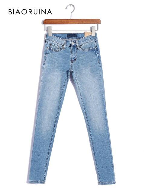 BIAORUINA Donne Casual Nodi di Lavaggio pantaloni di Lunghezza Della Caviglia Del Denim Dei Jeans di Moda Femminile A Vita Alta Dei Jeans Della Matita Sottile Del Tutto-Fiammifero Dei Jeans