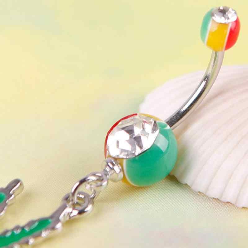 אופנה צבע נירוסטה מייפל עלה תליון טבור טבעת בטן גביש מחורר תכשיטי טבור סקסי