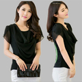New 2015 summer frilly white blouse for fat short sleeve plus size 3xl 4xl women shirt black blusas ferminina ladies tops tees