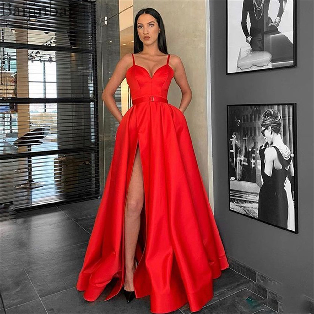 Baijinbai 2019 Latest Red   Prom     Dresses   with Slit Spaghetti Straps Modern Lady Party Evening Gowns Long Formal Celebrity   Dress