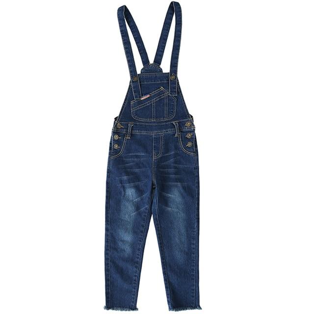 DZIECKO девочек Костюмы комбинезон для девочки деним 2018 весной карман комбинезон детские джинсы комбинезон для девочек 4-12Yrs