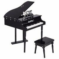 Goplus детей 30 ключи игрушки Grand маленьких Пианино с детьми скамейке древесины черный, Розовый Дети Пианино S малышей рождения подарок ty322017