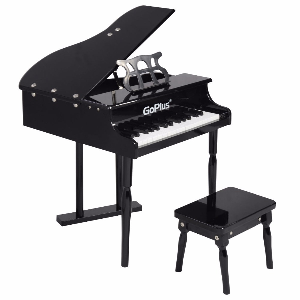 Goplus Children 30 Keys Toy Grand Baby Piano With Kids Bench Wood Black Pink Kids Pianos Toddlers Birthdays Gift TY322017