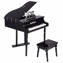 Goplus Children 30 Keys Toy Grand Baby Piano with Kids Bench Wood Black Pink Kids Pianos Toddlers Birthdays Gift TY322017(China)