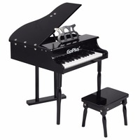 Goplus Children 30 Keys Toy Grand Baby Piano With Kids Bench Wood Black Pink Kids Pianos