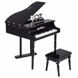 Goplus Kinder 30 Tasten Spielzeug Grand Baby Klavier mit Kinder Bench Holz Schwarz Rosa Kinder Klaviere Kleinkinder Geburtstage Geschenk TY322017