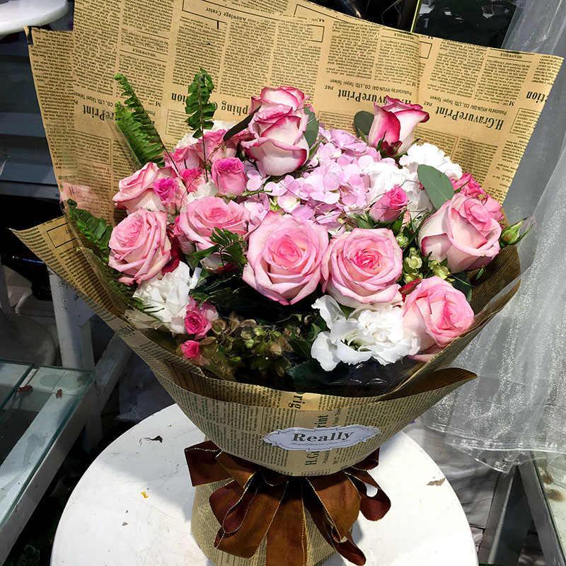 Gazety do pakowania kwiatów monochromatyczny brązowy papier papier gazetowy prezent papier pakowy bukiet ślubny kwiat sklep do pakowania na dzień matki