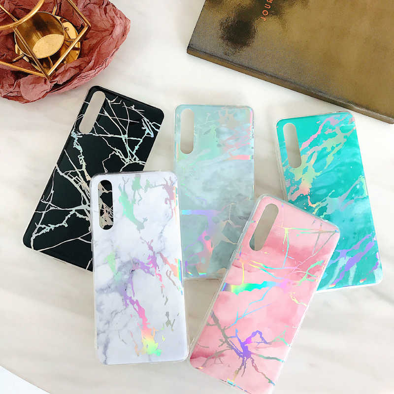 For Huawei P20 Lite Pro Cover Mate 20 Pro Lite Nova 3i Honor 7C 10 Y6 Y7 Prime 2018 Phone Case Fashion Laser Marble Soft Fundas