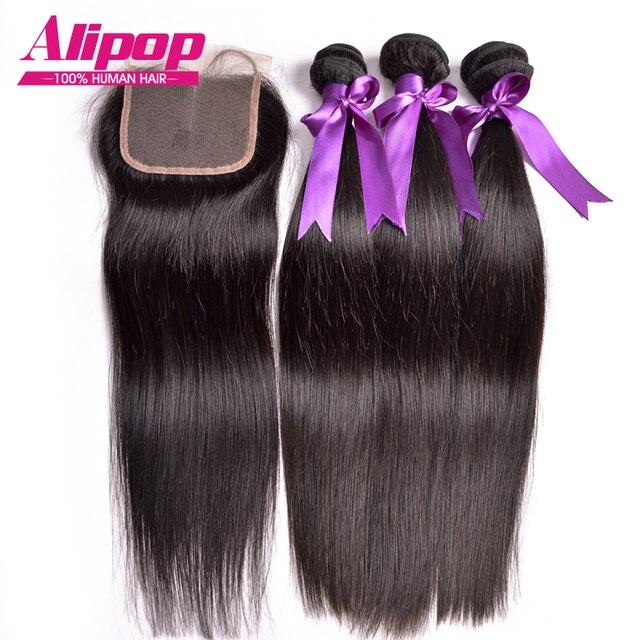 Top Peruvian Virgin Hair With Closure 4pcs,Peruvian Straight Virgin Hair With Closure,Straight Human Hair Bundles With Closure