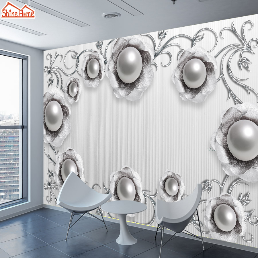 ShineHome-Large Custom 3D Photo Wallpaper Jewelry Floral Flower Gray Wallpapers for 3 d Living Room Bedside Household Wall Paper shinehome abstract brick black white polygons background wallpapers rolls 3 d wallpaper for livingroom walls 3d room paper roll