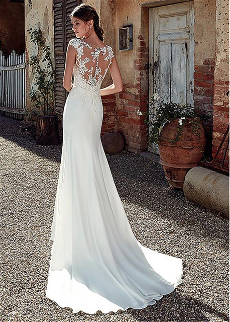 Modest Soft Satin Bateau Neckline Mermaid Wedding Dresses With Lace Appliques Sheer Bridal Dress Illusion Back 3