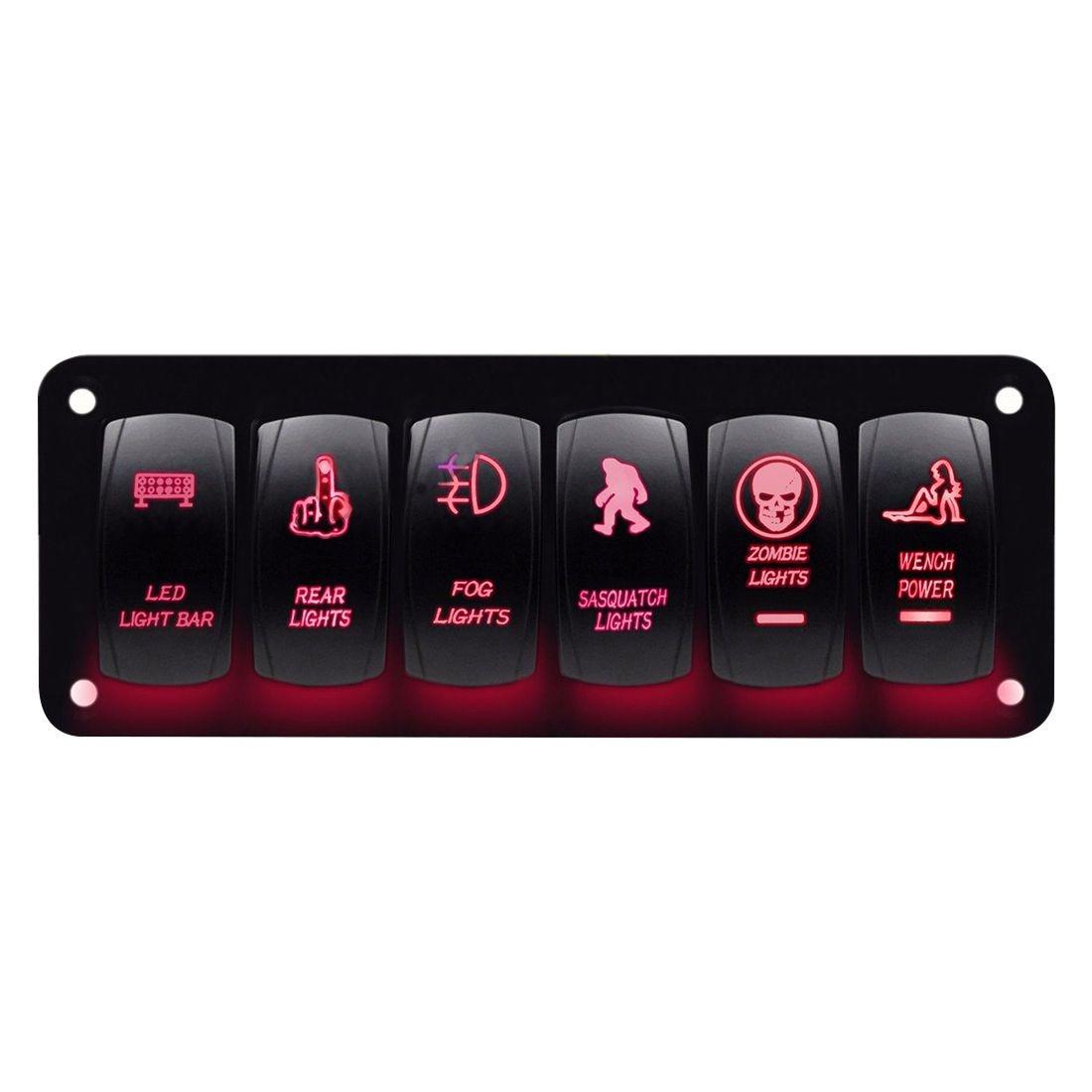 AUTO -Red Car Marine Boat 6-Gang Waterproof Circuit LED Rocker Switch Panel Breaker