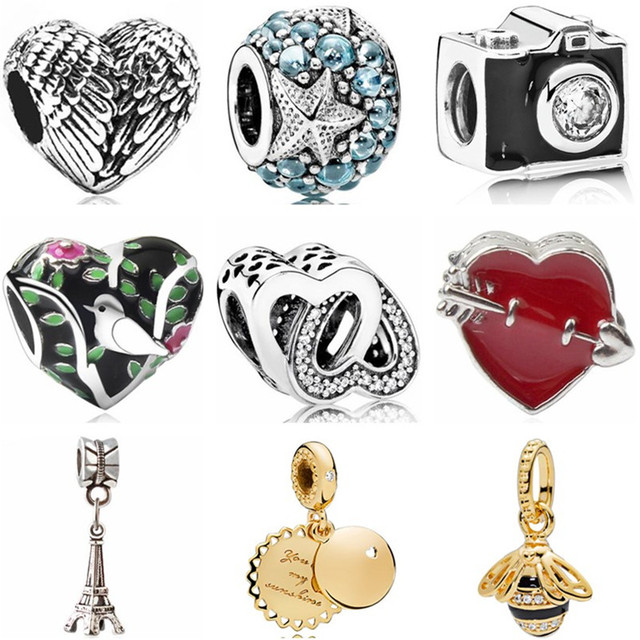 Hot Selling Crystal Starfish Cat Bird Camera Bear Owl Key Heart Beads Fit Original Pandora Charms Beads for Women Making Jewelry