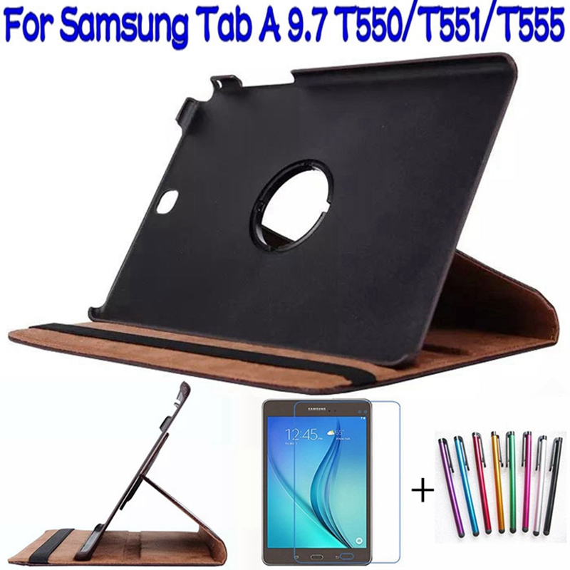 360 Degree Rotating Smart PU Leather Cover for Samsung Galaxy Tab A T550 T555 P550 9.7 Tablet Funda Case+Screen Protector+Pen 360 degree rotating pu leather case stand for galaxy tab a 9 7 t550