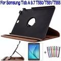 """360 grados que giran la caja de la pu cubierta de cuero para samsung galaxy tab a t550 t555 p550 9.7 """"tablet funda case + protector de pantalla + pen"""
