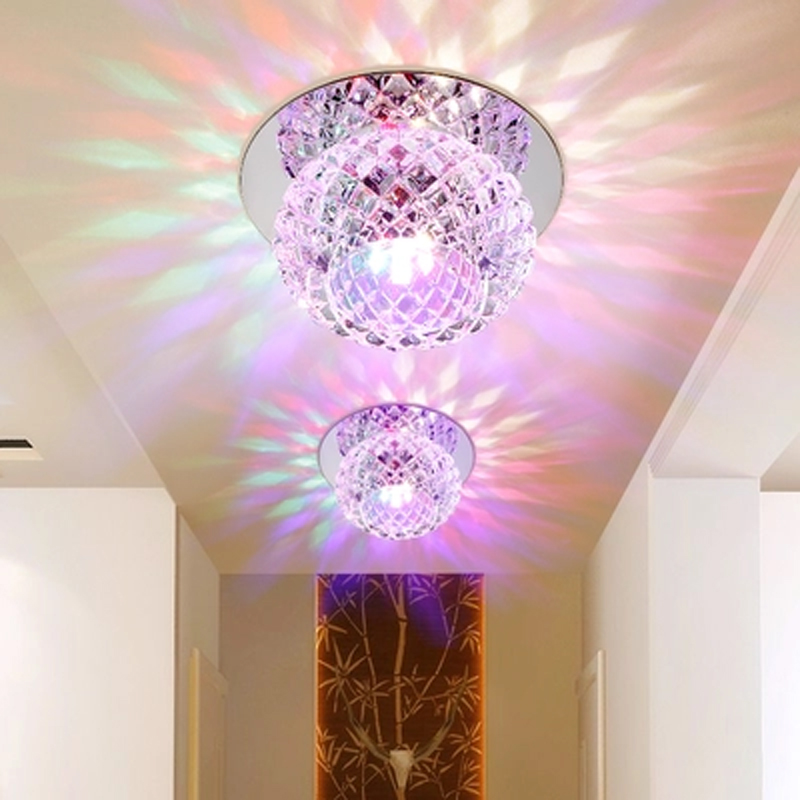 Modern led lamp embedded color ceiling light round glass crystal balcony lighting lamp