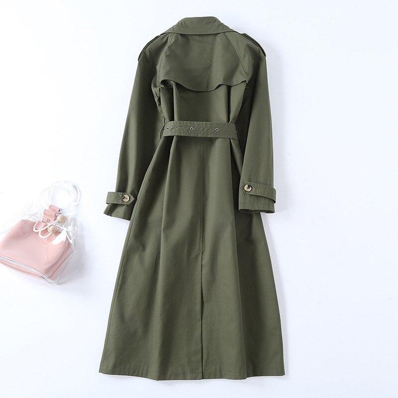 2019 Army coat Élégant Style Coupe Breasted Double Manteau Trench Pardessus Femmes Automne vent Printemps Green De Ceinture Angleterre D909 TwItAw