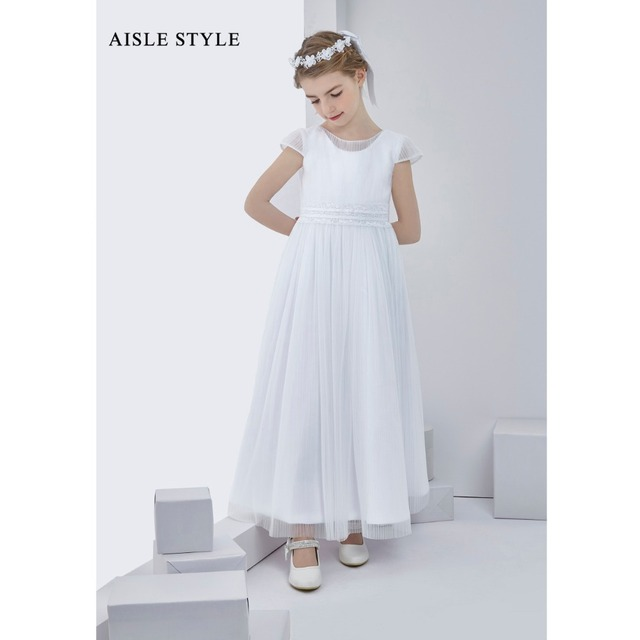 ecdcf91cd9a Simple Flower Girl Dress Lace Decorated White Tulle Long Kids Ester Party  Communion Dress with Short Sleeves Aisle Style