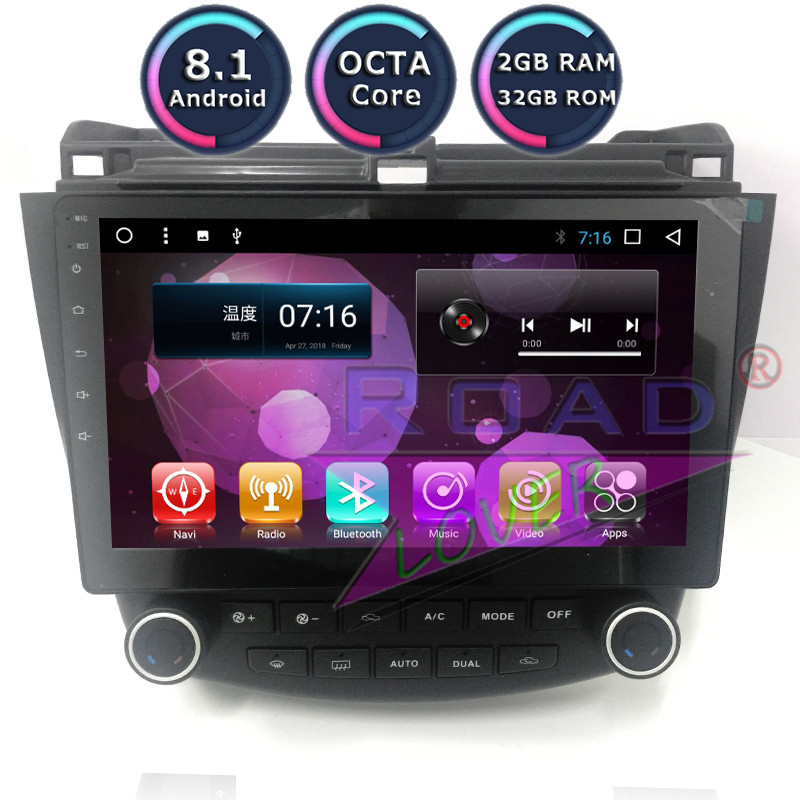 Roadlover Android 8.1 Car Magnitol Radio Player For <font><b>Honda</b></font> <font><b>Accord</b></font> 07 <font><b>2003</b></font> 2004 2005 2006 2007 <font><b>Stereo</b></font> GPS Navigation 2 Din NO DVD image