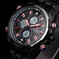 Nova marca de luxo LED Digital relógios Men Quartz hora de relógio dos esportes da forma homem de aço cheio militar relógio de pulso Relogio Masculino