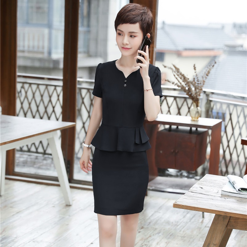 2018 New Styles Summer Short Sleeve 2 Piece Tops And Skirt For Women Business Work Wear Skirt Suits Formal Blazers Plus Size