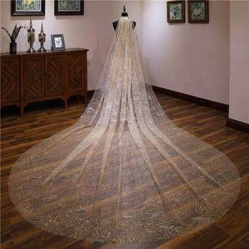 Champagne Gold Shining Sequins Spraying 5 Meters Long 3 Meters Wide Wedding Veil Silvver Luxury Bridal Chapel Veil With Comb