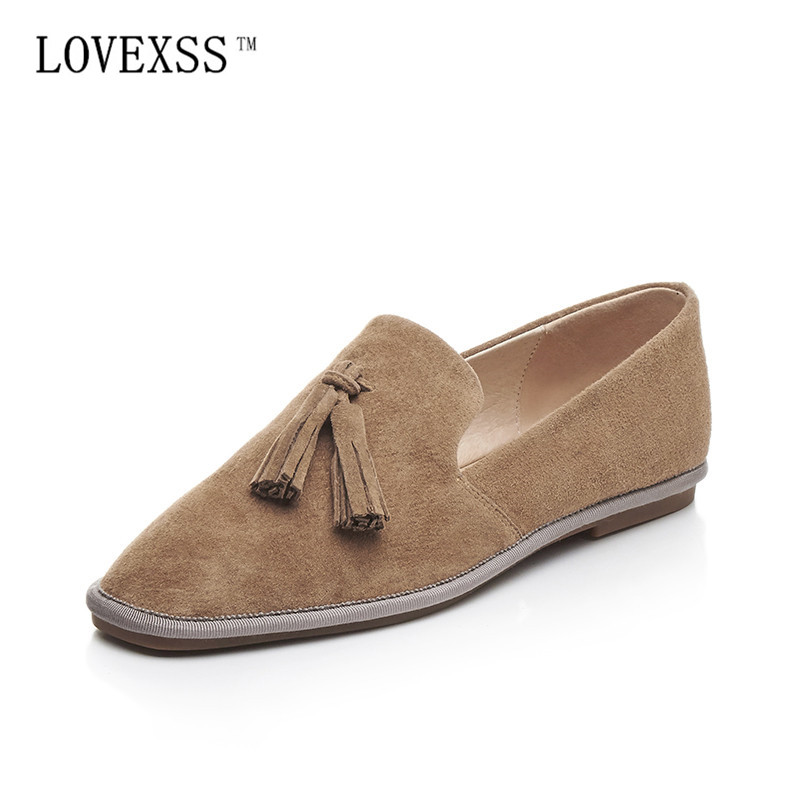 LOVEXSS Fringe Oxford Shoes 2017 Spring Apricot Black Woman Flats Genuine Leather Derby Shoes Women Big Size 33 - 42 Oxfords lovexss oxford shoes 2017 spring autumn toe lace up white woman flats genuine leather derby shoes women big size 33 42 oxfords