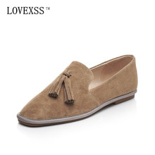 LOVEXSS Fringe Oxford Shoes 2017 Spring Apricot Black Woman Flats Genuine Leather Derby Shoes Women Big Size 33 – 42 Oxfords