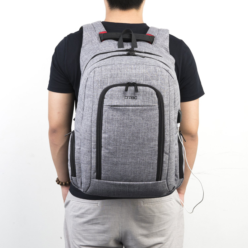 DTBG 17.3 Laptop Backpack Men Smart Bag Preppy Waterproof Large Capacity School Bags Travel Notebook Rucksack Gray Soft Mochila dtbg smart usb laptop backpack large capacity school bags for teens anti theft large capacity travel mochila sac rugzak plecak