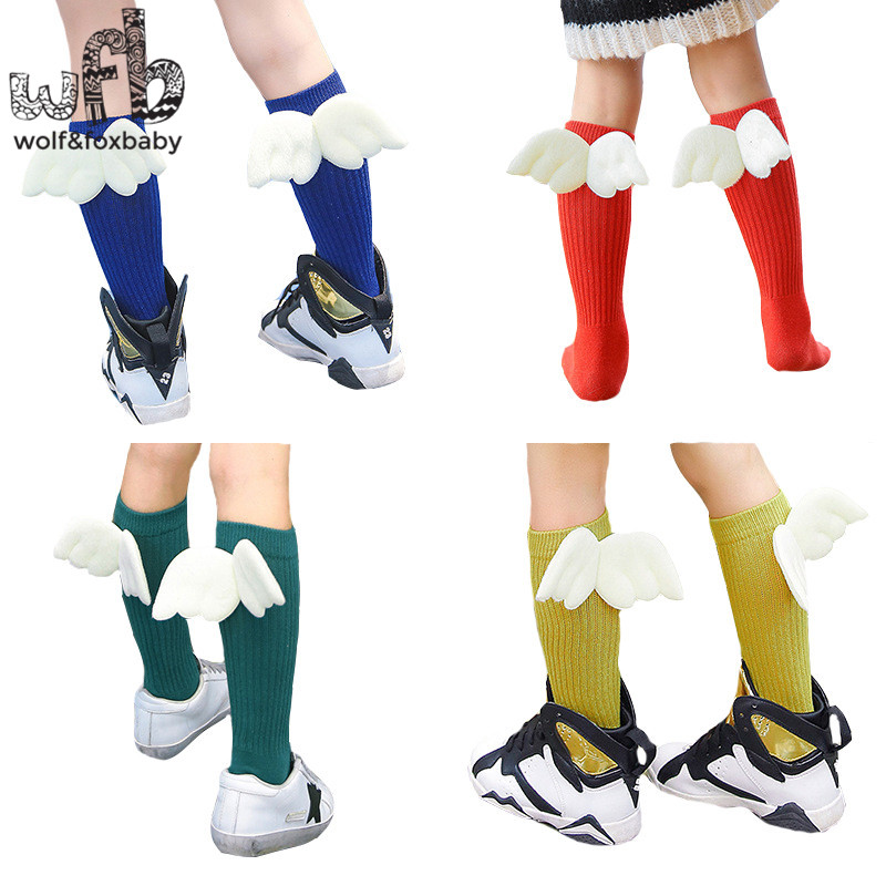 Retail 0-10years socks solid color wing newborn Kids children Cotton spring autumn fall winter
