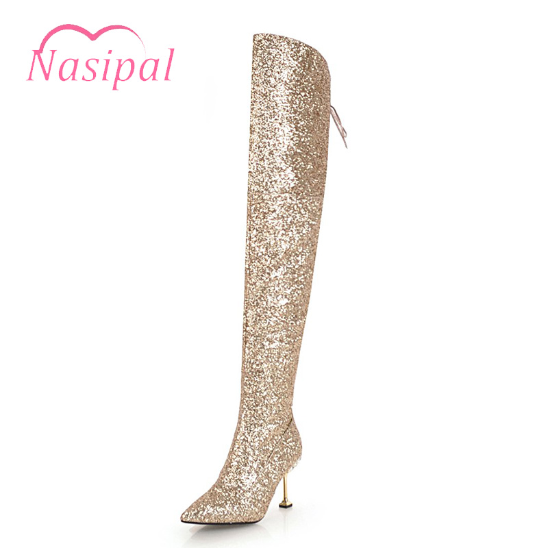 Nasipal Sexy Over The Knee High Boots For Women High Heels Warm Long Dancing Party Prom Shoes Ladies Glitters Night Club Pumps women sexy prom night club black