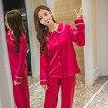 New Arrival Casual Women Silk Pajamas Sets Ladies Sleepwear Suits Female Home Sleep Wear Bath Robe Lingerie Lounge