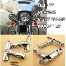Chrome Auxiliary Lighting Brackets Kits For Harley Touring Street Glide 06-13&Road King 96-16 Model