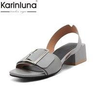 Karinluna 2018 Brand Shoes Women Shoes Woman Fashion Buckle Square Heels Date Casual Summer Sandals Shoes