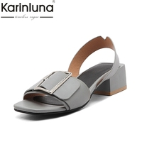 Karinluna 2018 Brand Shoes Women Shoes Woman Fashion Buckle Square Heels Date Casual Summer Sandals Shoes