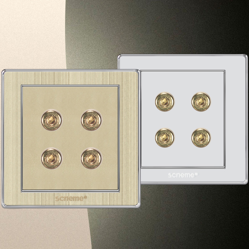4 Pin Audio wall Socket, Simple design gold brush panel 86*86 electrical outlet 110-250V 2018 hot sale 6 pin multifunction socket wallpad luxury wall switch panel plug socket 118 72mm 10a 110 250v